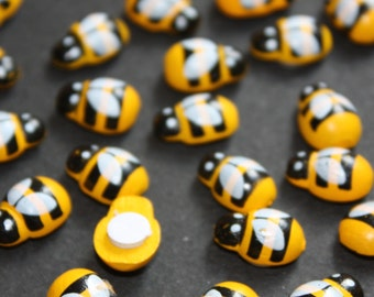 100 X Wooden Yellow Mini Bees Craft Toppers Wood Card Making, Embellishment Toppers