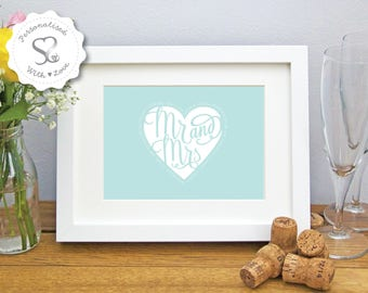 Personalised Love Heart Mr & Mrs Wedding/Valentine/Special Anniversary Print or Framed Print Picture Gift/Keepsake - FREE SHIPPING