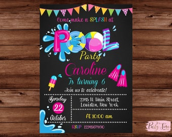 Pool Party Invitation - Girls Pool Party Invitation -Pool Birthday Invitation - Swimming Pool Birthday Party - Swimming Birthday. DIGITAL