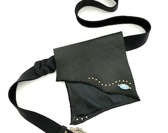 Black Leather Hip Bag Shi Studio  Pocket Belt