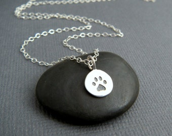 tiny silver paw print necklace. small sterling silver pet pride pendant. pet charm. gift animal lover simple pawprint dog cat simple jewelry