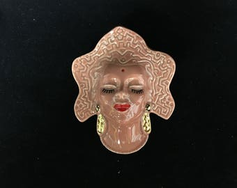 Vintage Woman of India Wall Pocket/Planter
