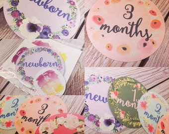 Girl Month Stickers Flowers Shabby Chic Vintage