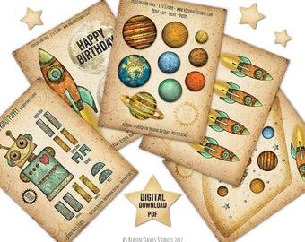 Robot party printable, Outer Space Birthday PDF, Rocket ship Printable, Astronaut Birthday, Robot Birthday svg, Rocket, Robin Davis Studio