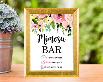 Mimosa Bar Sign Printable, Spring Floral Mimosa Bar Sign, Wedding, Bridal Shower, Baby Shower Decorations, 8x10, Instant Download