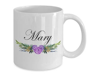 Coffee Mugs Personalized Name - Personalized Name Mug v6 - Custom Name Mug Floral Name Gift For Her First Name Personalized Gifts
