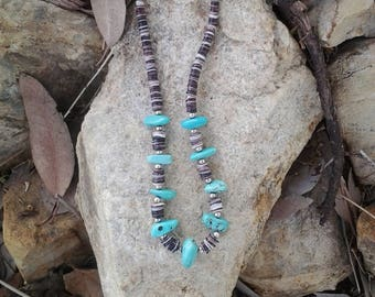 Turquoise nuggets Shell heishi and sterling silver beads