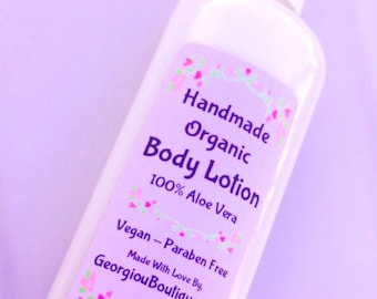 Body Lotion/Vegan/Handmade Aloe Vera Body lotion /8oz bottle with pump/Body butter/ Dry skin/sensitive skin