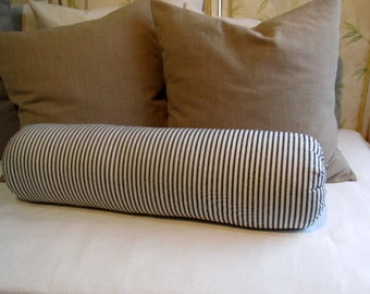 8 x 20 inch super long daybed bolster pillow in 100% cotton black and white ticking