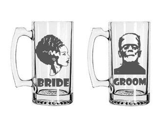 Frankenstein Beer Mug Set, Bride Of Frankenstein, Frankenstein Beer Steins, Personalized Beer Mugs, Custom Beer Mugs, Bride and Groom Set