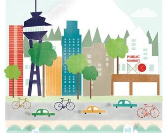 8x10 Seattle City Illustration