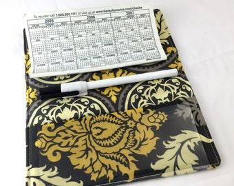 Grey Duplicate Checkbook Cover Register -  Gold Duplicate Checkbook Reigster -  Fabric Checkbook Cover - Joel Dewberry Damask in Granite
