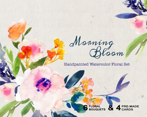 Digital Clipart- Watercolor Flower Clipart, Floral Clip art, Floral Bouquet Clipart, wedding flowers clip art- Morning Bloom