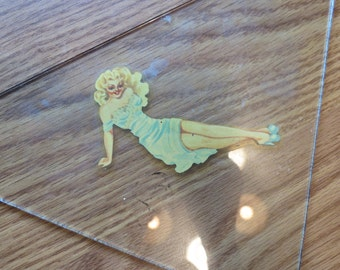 1940s Pin Up Girl Glass Case