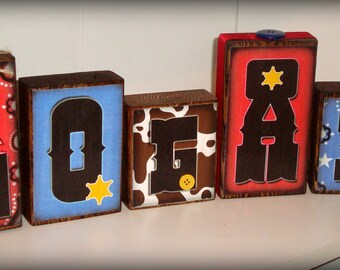 Our Little Buckaroo - Little Boys Personalized Name Blocks - Cowboy Theme