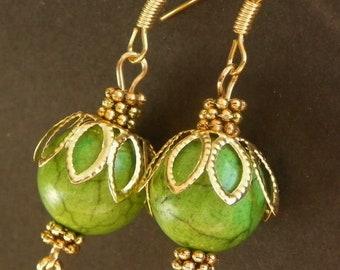 Green earrings gold earrings prom earrings drop earrings dangle earrings womens earrings womans earrings teen earrings light weight earring