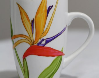 Hand painted Bird of Paradise coffee mug