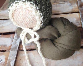 Stretch Fabric Wrap and knit bonnet; Newborn Cotton Wrap; Newborn set;Baby Wrap Prop; Wrap; Baby wrap; Newborn; Photo Prop RTS