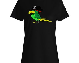 Angry Pirate Bird Ladies T-shirt r863f