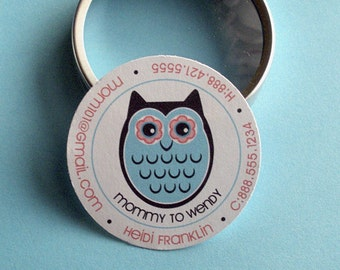 Heidi (Retro Owl and Tree) - 50 CUSTOMIZABLE Calling Cards/ Business Cards/ Tags in Tin