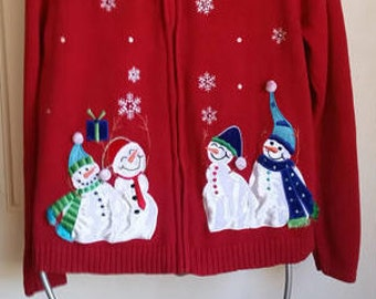 Snow Man Christmas Sweater, Ugly Christmas Sweater, Womens cardigan sweater, Company Christmas Party, Tacky Christmas sweater, size medium