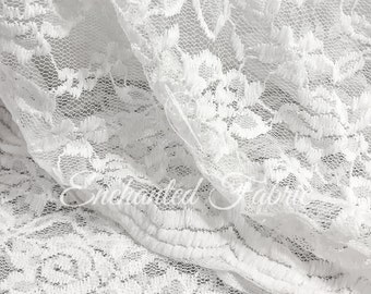 Cotton Stretch Lace Fabric | Scalloped Lace | Wedding Lace Fabric | Floral Lace | Maternity Dress Lace | Vintage Lace |  1304 OffWhite