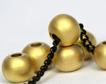 5 pcs 8 mm (hole 12 gauge 2 mm) gold plated solid brass spacer bead , findings bab2 1464