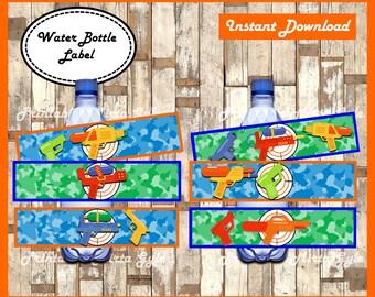 Water Gun Water Bottle Label, printable Water Gun party Water Bottle Label, Water Gun Bottle labels