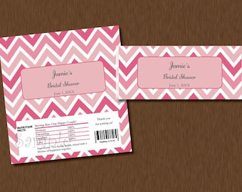 DIY Editable - Candy Bar WRAPPERS - Instant Download - pink Chevron Printable Personalized Bridal Baby Shower Birthday Party Favors