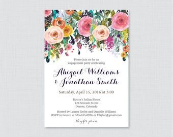 Floral Engagement Party Invitation Printable or Printed - Shabby Chic Engagement Party Invitations - Colorful Flower Garden Party 0002-B