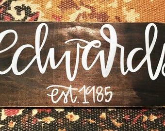 5.5x12 Hand Lettered Wood Family Established Sign