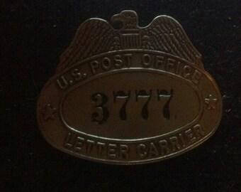 Vintage US Post Office Letter Carrier Hat Badge 3777