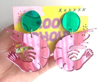 Australiana // Pink and Green Mirror Prawn Shrimp Dangle Statement Earrings