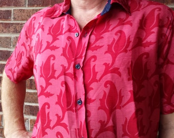 Men's Handmade Sari Silk Short Sleeve Button Down Dress Shirt - Pink with Red Accents - Malaga H839