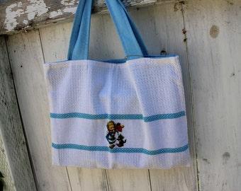 "Upcycled Tea Towel Tote, 15"" x 11"", tea towel tote, grocery tote bag, library tote bag, little girl tote, OOAK, eco bag, Dutch girl"