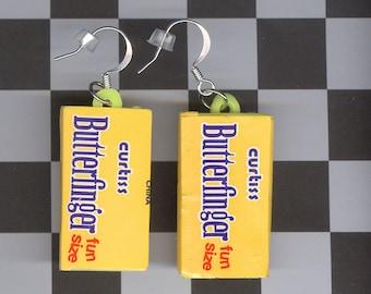 Butterfinger charm candy bar charm earrings plastic charm jewelry vintage gumball prizes crackerjack Cracker Jack charm gum ball halloween