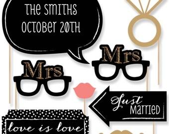 Lesbian Wedding Photo Booth Props - LGBTQ Prop Kit - Mrs. & Mrs. - Gold w/Mustache, Hat, Bow Tie, Glasses and Custom Talk Bubble - 20 pc.