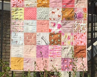 Pink and Mustard modern patchwork lap quilt