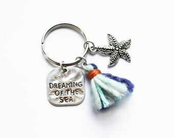 Dreaming Of The Sea Keychain - Handmade Tassel - Starfish Charm - Beach Keyring - Boho Accessories - Bohemian Style Gift