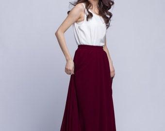 High Waist Long Skirt Chiffon Maxi Skirts Beautiful Elastic Waist Summer Skirt Floor Length Women Skirt (301) ,91#