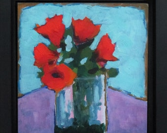 """Still Life with Flowers, May Flowers, Original Painting on Panel, 8"""" x 8"""", Free Shipping within USA"""