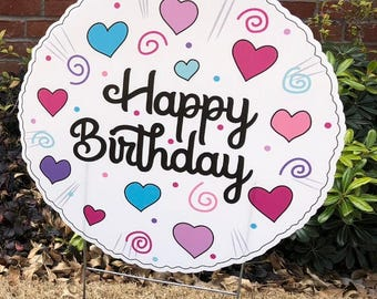 Happy Birthday Balloon yard sign pink