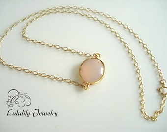 Pink Necklace, Pink Chalcedony Necklace, Single Stone Necklace, Gold Necklace