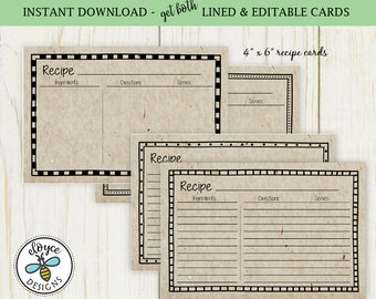 Vintage Brown Paper Recipe Cards 4x6 -  digital lined & editable printable recipe cards no. 892