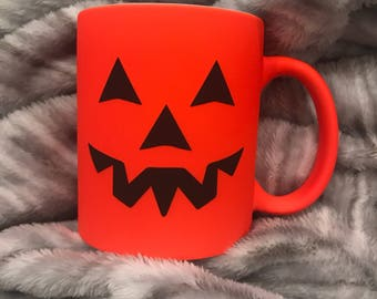 Personalized Halloween Orange 11oz ceramic coffee mug with name