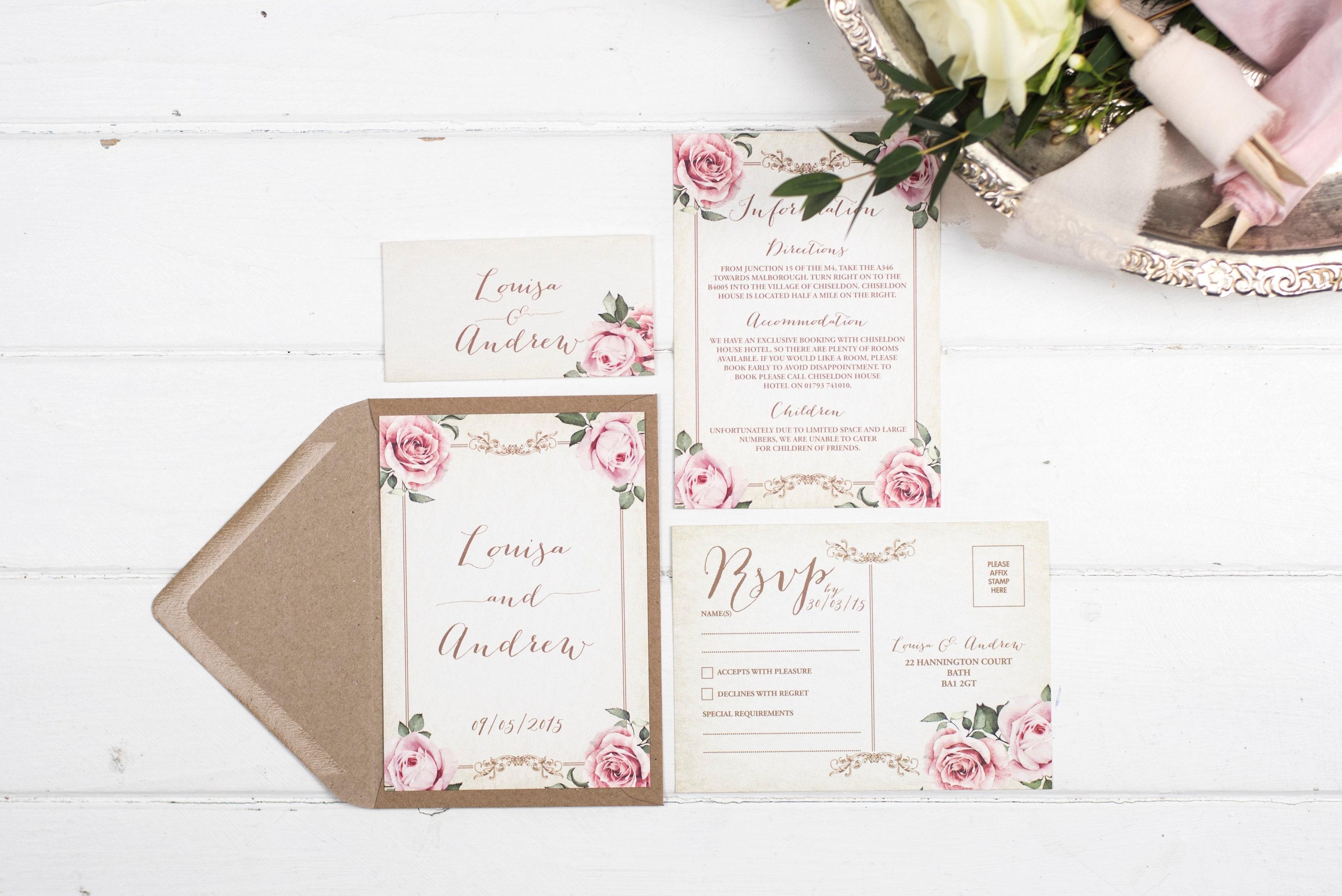 Vintage Wedding Invitation Set - A6 Ivory Floral Framed