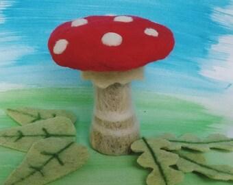 Mushroom - needle felted 100% wool