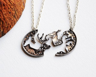 Stag and deer necklace, His and hers, Gift for couple, Couple jewelry, Stag head, Coin necklace, Anniversary gift, Gift for him, Couple gift