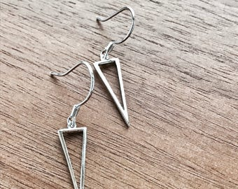 Sterling Silver Geo Triangle Dangle Earrings, Triangle Earrings, Hook Earrings