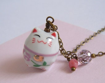 Japanese Lucky Cat Necklace, Pink Glass Charm, Antiqued Brass Chain